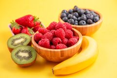Free Group Berry Mix - Strawberries, Raspberries And Blueberries Of Nature Fruit In Wood Bowl, Healthy Food For Diet Royalty Free Stock Photography - 197914877