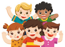 Group best friends happy smiling, hugging and waving their hands. Vector. Group best friends happy smiling, hugging and waving their hands stock illustration