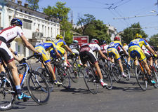 Group of bicycle racers Stock Photos