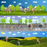 Group of bicycle riders on bikes in mountains, city road and park. Biking sport banners. Vector illustration flat style Stock Images