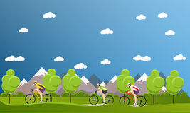 Group of bicycle riders on bikes in mountains and park. Biking sport concept cartoon banners. Vector illustration flat Stock Photography