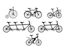 Group of Bicycle silhouettes,Vector illustrations Royalty Free Stock Photography