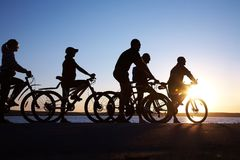 Group on bicycles Royalty Free Stock Image