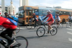 Group of bicycles in Car Free Day,Bangkok,Thailand. Stock Image