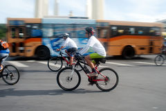 Group of bicycles in Car Free Day,Bangkok,Thailand. Royalty Free Stock Photography