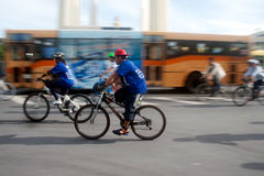 Group of bicycles in Car Free Day,Bangkok,Thailand. Stock Photo