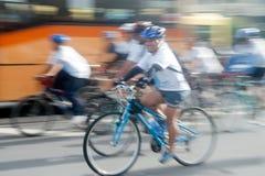 Group of bicycles in Car Free Day,Bangkok,Thailand. Stock Photos