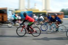 Group of bicycles in Car Free Day,Bangkok,Thailand. Royalty Free Stock Photo