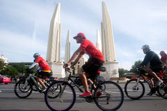 Group of bicycles in Car Free Day,Bangkok,Thailand. Stock Images