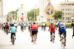 Group of bicycles in Car Free Day,Bangkok,Thailand. Royalty Free Stock Images