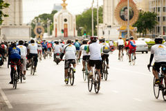 Group of bicycles in Car Free Day,Bangkok,Thailand. Royalty Free Stock Photos