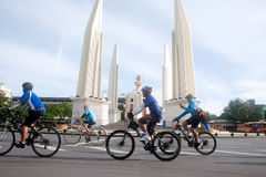 Group of bicycles in Car Free Day,Bangkok,Thailand. Stock Photography