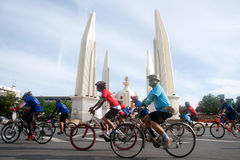 Group of bicycles in Car Free Day,Bangkok,Thailand. Royalty Free Stock Photos