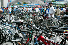 Group of bicycles on the car free day. Stock Images
