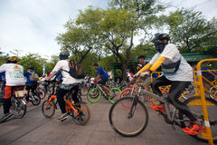 Group of bicycles in Car Free Day,Bangkok,Thailand. Royalty Free Stock Photo