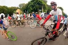 Group of bicycles in Car Free Day,Bangkok,Thailand. Stock Photos