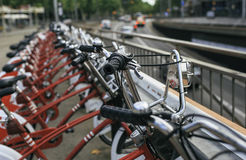 Group of bicycles on the street.  Stock Photo