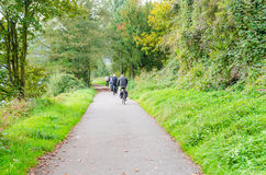 Group of Bicycling at the river Ruhr in Essen Werden Stock Photography