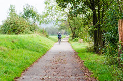 Group of Bicycling at the river Ruhr in Essen Werden Royalty Free Stock Image