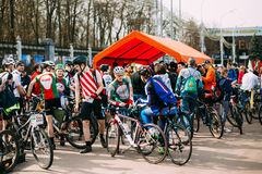 Group of bicyclists at opening of the cycling season in Gomel, B Royalty Free Stock Image