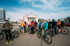 Group of bicyclists at opening of the cycling season in Gomel, B Stock Photo