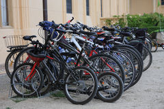 Group of bike parking in front of the  castle Lednice Stock Photo