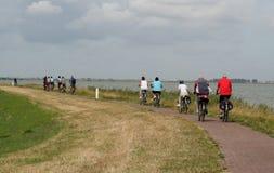 Group of bikers on the island Marken. Netherlands,North Holland,Marken, june2016: group of bikers on the island Marken Royalty Free Stock Photos