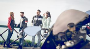 Group of bikers making excursion in the weekend Stock Photography