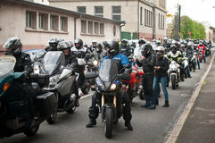 Group of bikers and motorcycles in the street Royalty Free Stock Photos