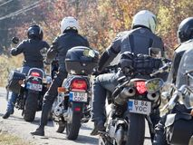 Group of bikers preparing to leave Stock Photo
