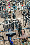 Group of bikes in parking Stock Photography
