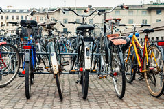 Group of bikes in parking Stock Images