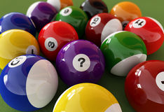 Group of billiard balls with numbers, on green carpet table. Group of billiard balls with numbers, on green carpet table, where the centered ball has a question Stock Illustration