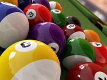 Group of billiard balls with numbers, on green pool table. Group of billiard balls with numbers, on green pool table, with a hole in the background. Close-up Vector Illustration