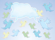 Group of birds on blue sky background Royalty Free Stock Image