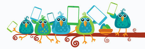 Group Of Birds Sitting On Branch Hold Smart Cell Phone Tablet Computer Royalty Free Stock Photos