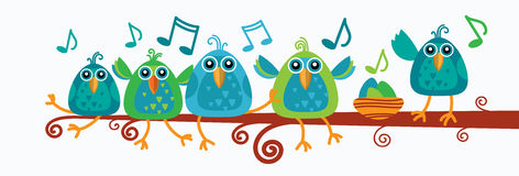 Group Of Birds Sitting On Branch With Music Notes Stock Photos