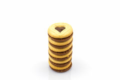 Group of Biscuit Cookie heart shaped . Stock Photos