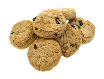 Group of bite size oatmeal raisin cookies Royalty Free Stock Image