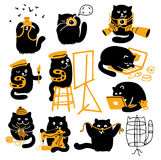 Group Of Black Cats. Creative Professions. Vector characters set. Black cats with yellow objects. Different creative professions Stock Photo