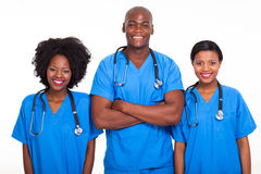 Black doctors nurses. Group of black doctors and nurses isolated on white stock image