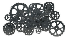 Group of black gears Stock Images