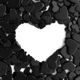 Group black hearts on white background. Group hearts on white background. Valentine`s day background. 3d render illustration Royalty Free Stock Photos