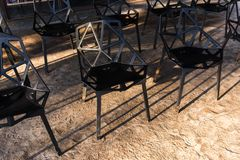 Group of black metal chairs Royalty Free Stock Image