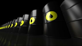 A group of black new oil barrels. stock footage