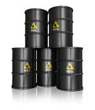 Group of black oil barrels. Group of black metal oil barrels isolated on white reflective background stock illustration
