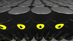A Group of black oil barrels. Loopable. stock video footage
