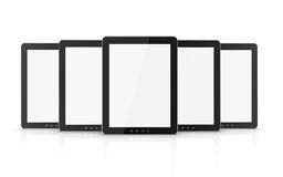 Group of black tablet pc. On white background. 3d illustration Stock Photos