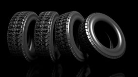 Group of black tires Stock Image