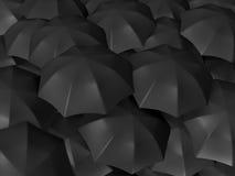 Group of Black Umbrellas Stock Photography